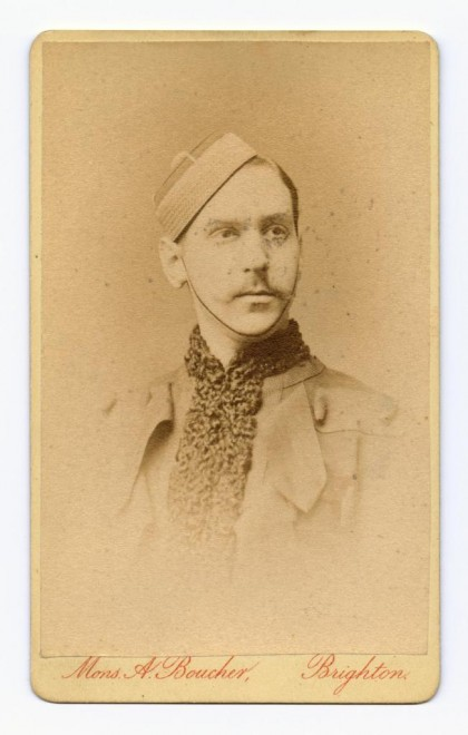 Carte-de-visite depicting head and shoulders of a man in hat, by Monsieur A. Boucher, Brighton
