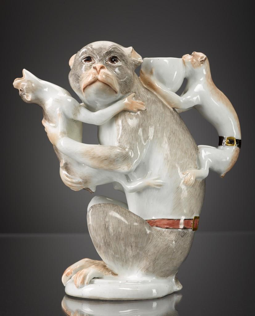 Meissen porcelain teapot in the shape of 3 monkeys, 1740s