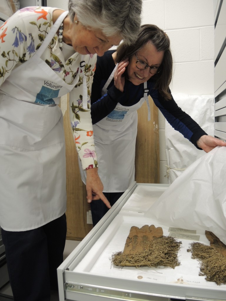 Two members of the EDFAS team admiring their work and some of the lovely gloves in the collection.