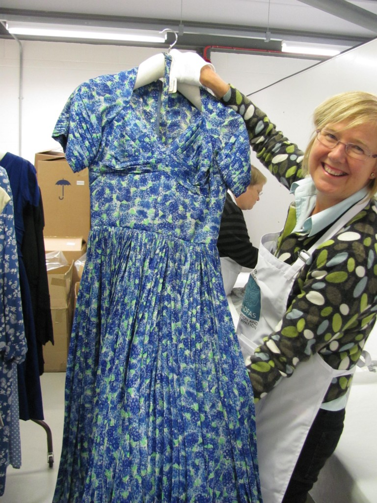 After volunteer intervention: garments on new padded hangers ready to go back into the store. The volunteers enjoyed selecting their favourites during each session.