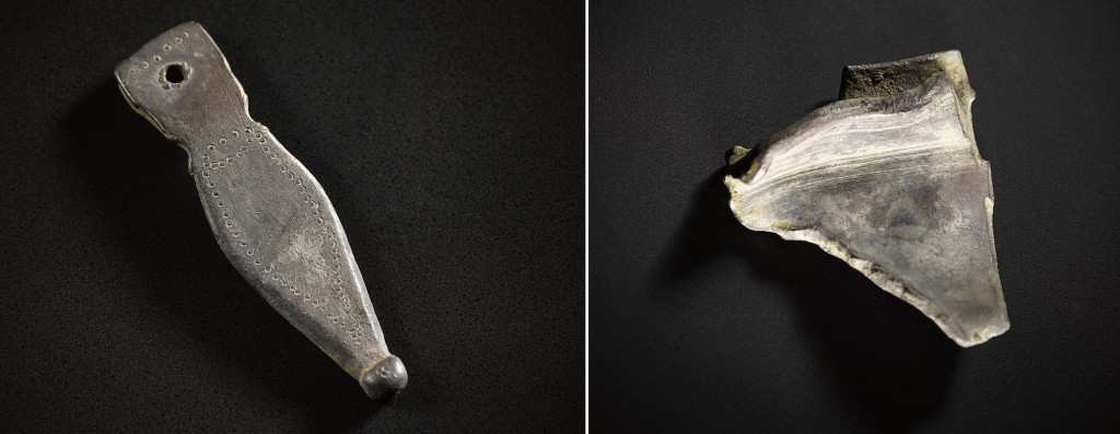 A Late Roman silver strap end,  A piece of hacked-up Roman plate.