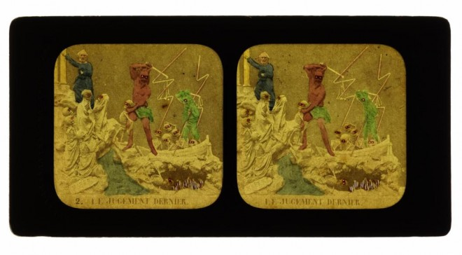 French tissue stereocard entitled Le Judgement Dernier (The Last Judgement), depicting skeletons and demons, by Habert, 1860. From the Howarth-Loomes collection at National Museums Scotland