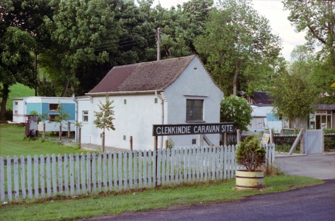 The Glenkindie exchange building as it was on 28 October 1978 – the caravan site has now gone