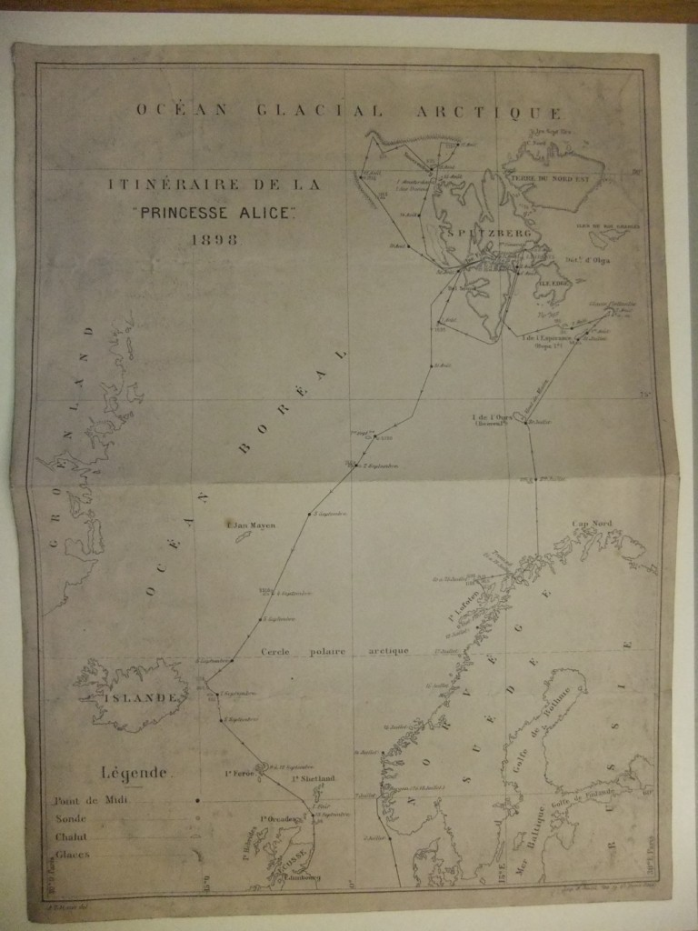 This map shows the route of the Princess Alice .