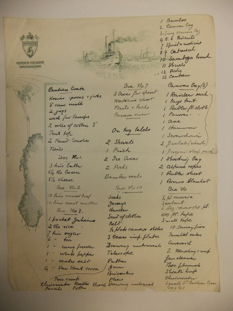 This list was made by W.S. Bruce for an expedition to Spitsbergen.