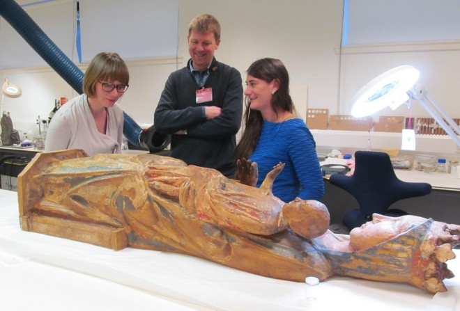 Rachel, Mark Richter from Glasgow University and Lore Trolean with the Madonna