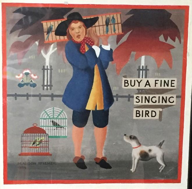 Gouache on panel, 'Buy a Fine Singing Bird', by Alison McKenzie