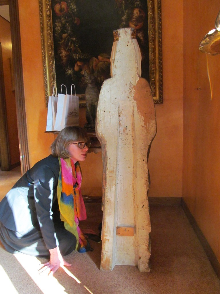 Rachel inspects the construction of the sculpture