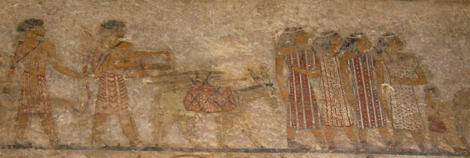 Wall painting of a group of foreigners in the tomb of Khnumhotep II at Beni Hassan, Egypt © Margaret Maitland