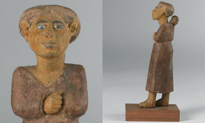 Wooden statuette of a foreign woman excavated at Beni Hassan, Egypt [A.1911.260].