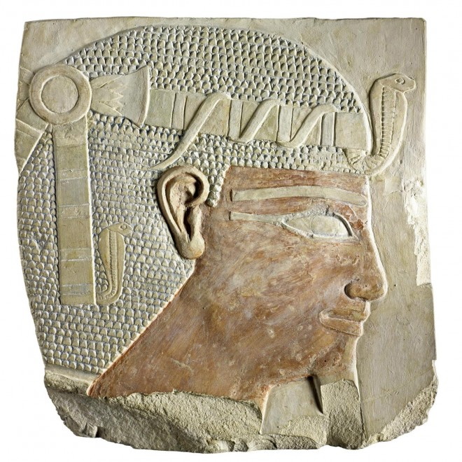 Relief fragment depicting King Nebhepetre Montuhotep II from his mortuary temple at Deir el-Bahri, Thebes, Egypt