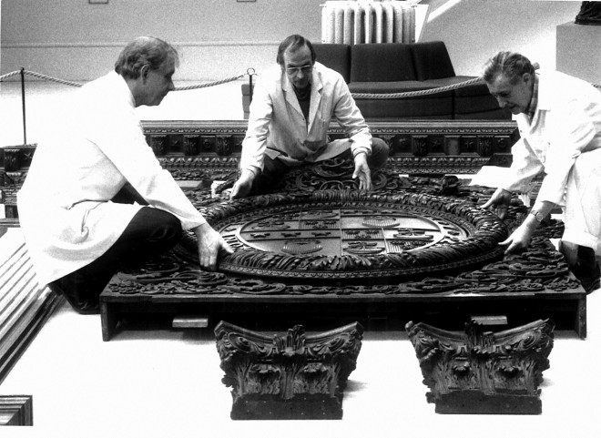 Former colleagues Alec Dickson, John Hazle and Ian Mackay assemble the drawing room in 1992