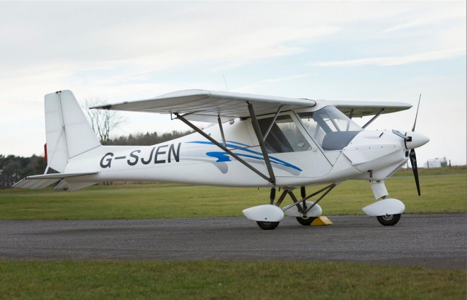 "Sue Oliver describes the Ikarus C42 microlight , as a ""super wee plane"""