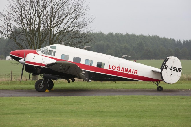 The Beech 18 aircraft outside during hangar movements at East Fortune Airfield in November 2014.