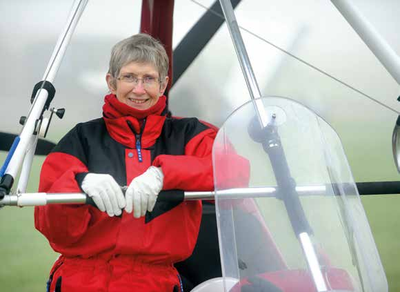 Sue Nelson microlighter pilot at East Fortune Airfield.