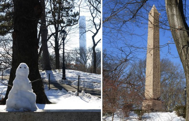 Finding Central Park covered in the snow and locating the pair to London's 'Cleopatra's Needle'