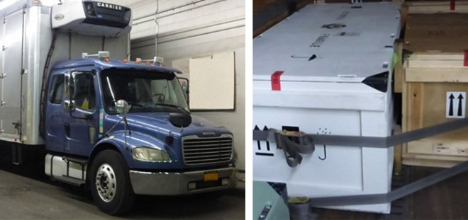The truck which took our crates to JFK airport