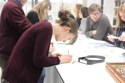 Participants trying out specimen preparation for the first time reject the optical aids required by elderly curators!