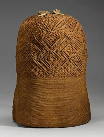 A.1956.1153, cap of finely woven pineapple fibre decorated with leopard claws, which symbolize authority.