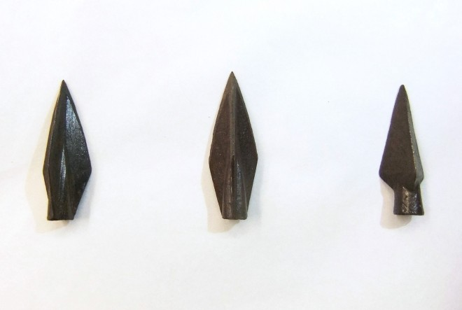 Three arrowheads dated to the Late Period from Memphis, Egypt.