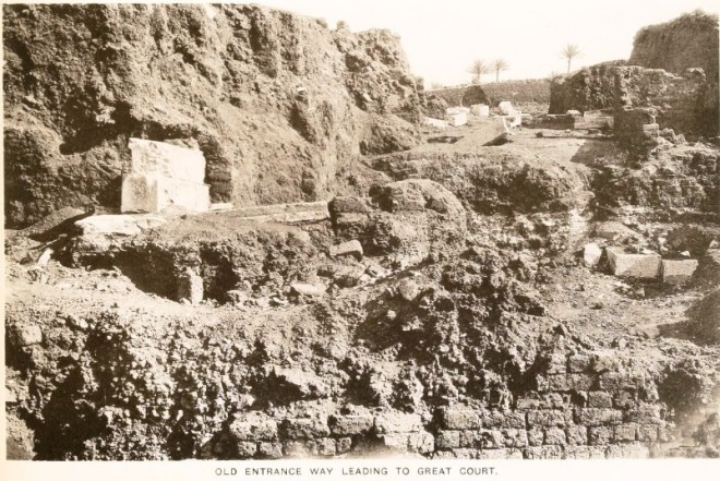 Photo of the Palace of Apries, Memphis, Egypt, by the excavator Sir Flinders Petrie.