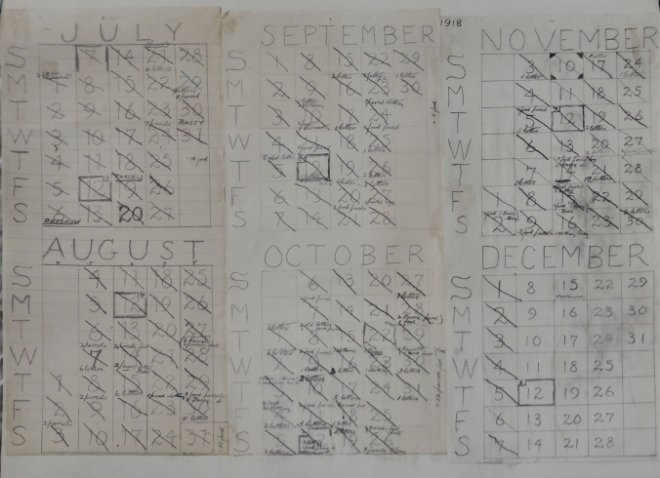 Calendar used by Fleming during captivity to keep the date, since prisoners were denied access to this information