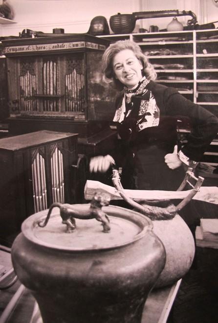 Jean Jenkins in the Horniman Museum stores, 1960s
