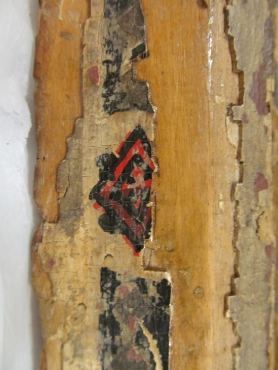 Remnants of original paint decoration on the Madonna's throne