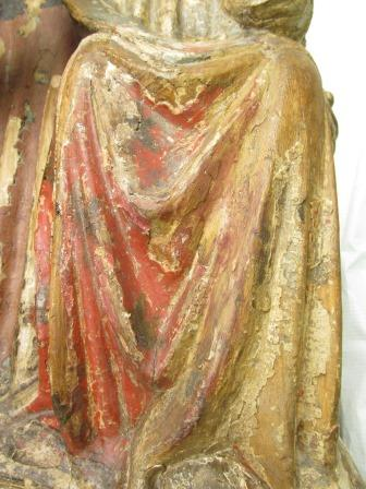 Before and After removal of red watercolour overpaint on the Christ Child's robe