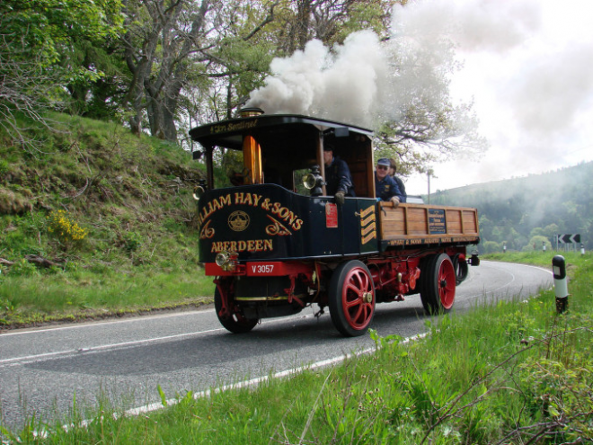 Sentinel steam waggon in operation after being restored to working order