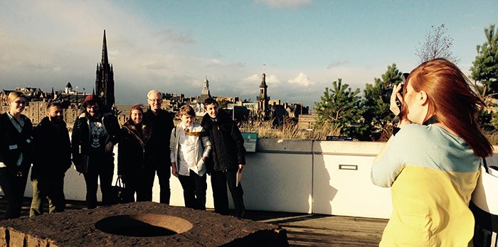 On the roof terrace