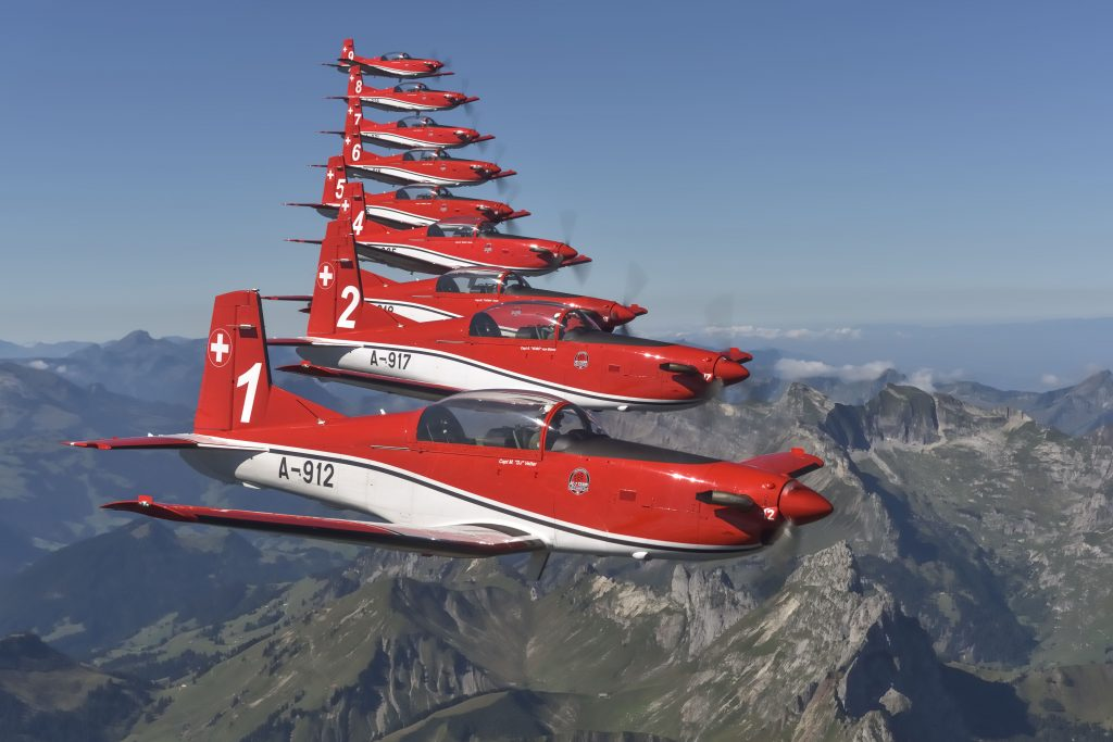 Swiss Air Force PC-7 team from the cockpit © Swiss Department of Defence, Public Defence and Sport DDPS