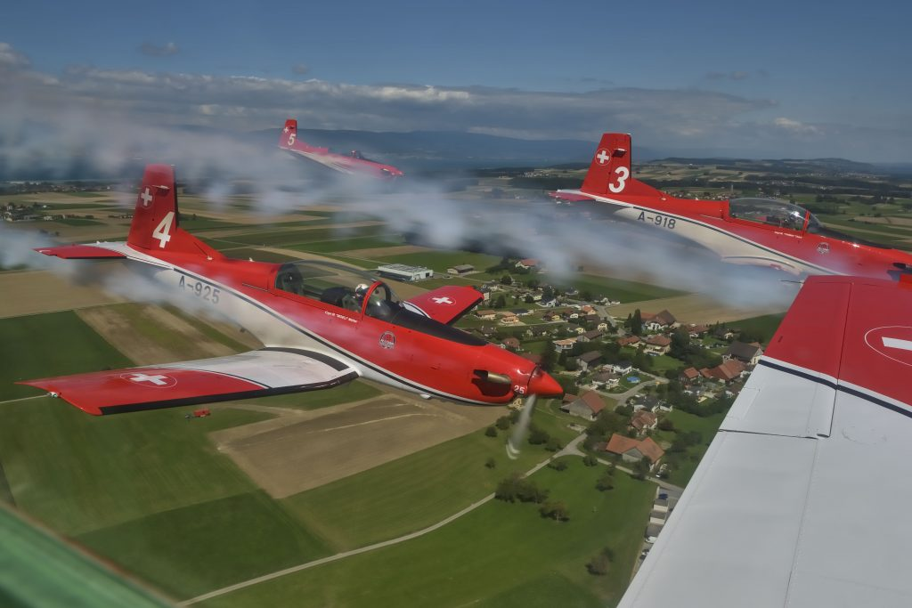 Swiss Air Force PC-7 team in formation © Swiss Department of Defence, Public Defence and Sport DDPS