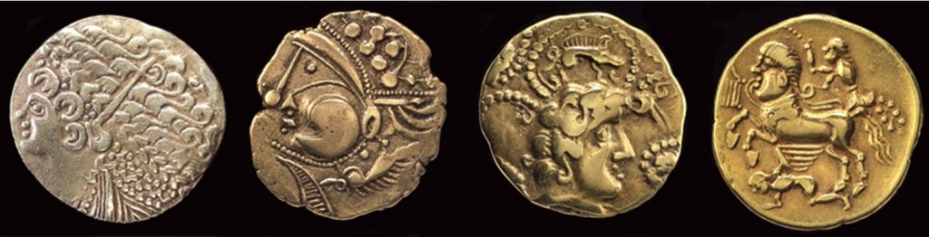Late Iron Age coins (200–50 BC) from Buckinghamshire and France. © The Trustees of the British Museum