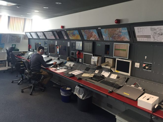 Inside the Air Traffic Control tower at Edinburgh Airport © NATS Press Office