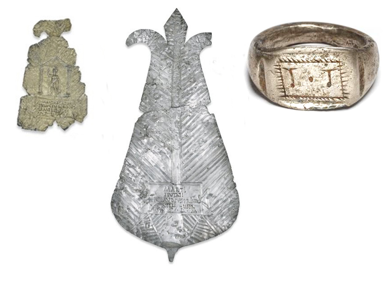 A votive ring from Roman Lincolnshire (AD 150–300) and a plaque from Hertfordshire (AD 200–300), both combining local and Roman beliefs. © The Trustees of the British Museum