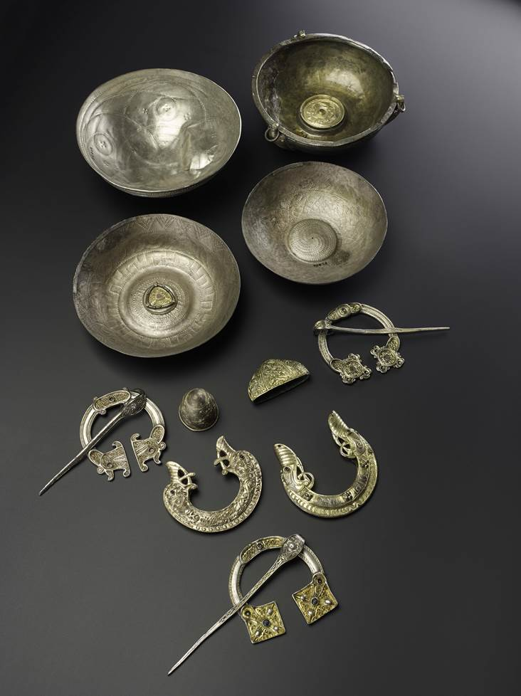 Selection of silver objects from the St Ninian's Isle hoard, Shetland (AD 700–800)