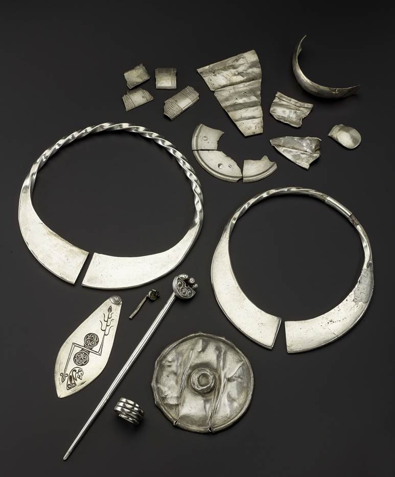 Selection of silver, most of it hacked up ready to be recycled, from the Norrie's Law hoard, Fife (AD 450–600)