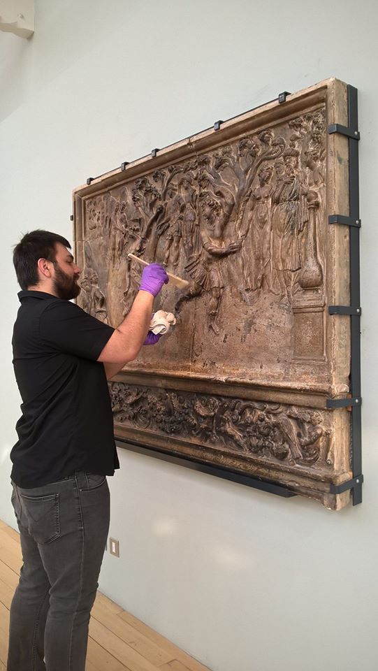 Cleaning the Atalanta and Hippomenes overmantel