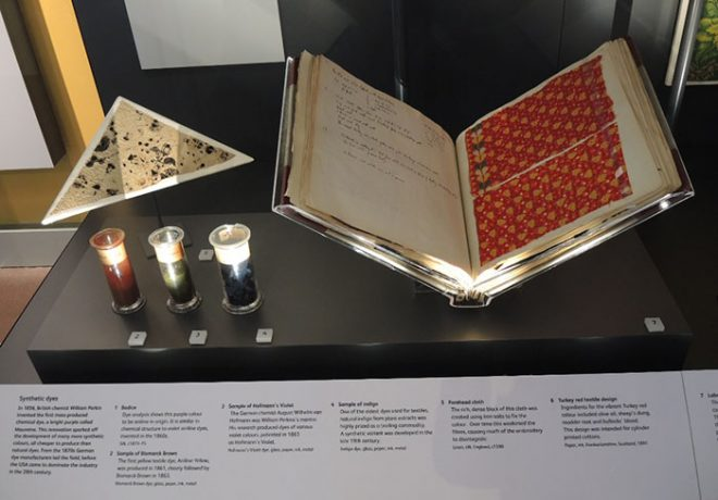 The Turkey Red Laboratory book on display in the Fashion and Style gallery.