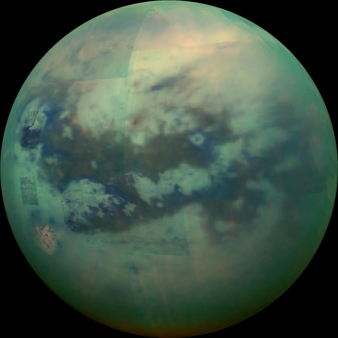 Peering Through Titan's Haze Titan as seen by Cassini's VIMS Photojournal: PIA20016 December 4, 2015 This composite image shows an infrared view of Saturn's moon Titan from NASA's Cassini spacecraft, acquired during the mission's ''T-114'' flyby on Nov. 13, 2015.
