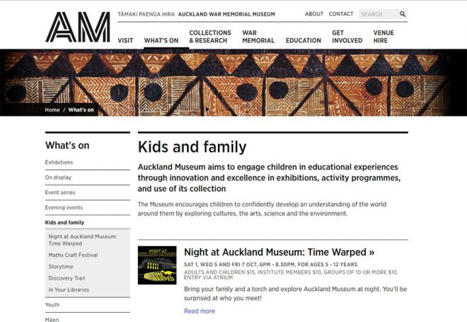What's On pages for Auckland War Memorial Museum