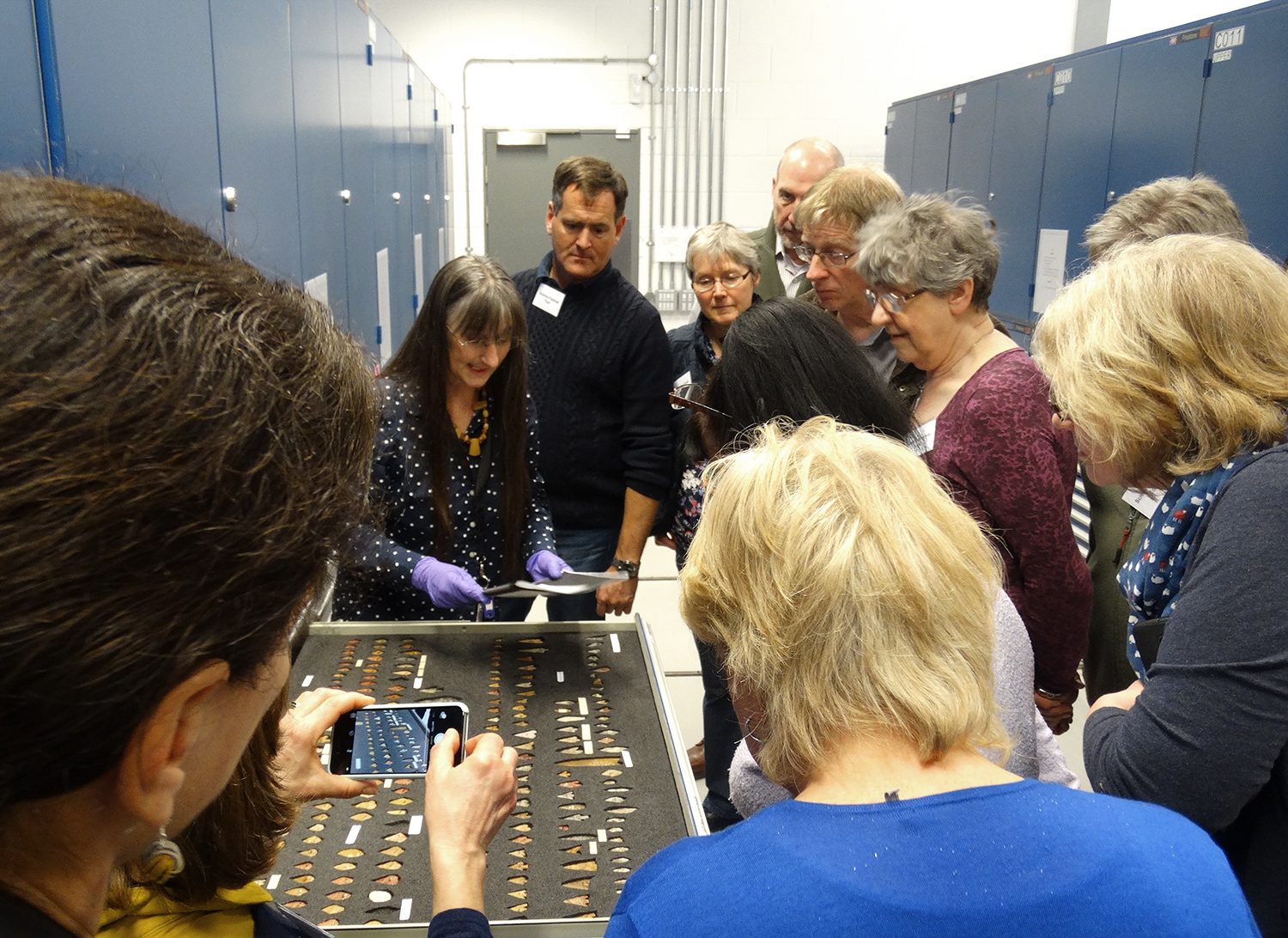 Tour group in the Scottish History collection stores.