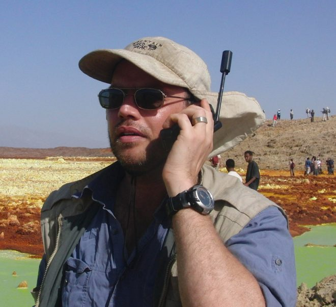r Ralph Lorenz, Johns Hopkins University Applied Physics Lab, in the field on a satellite phone.