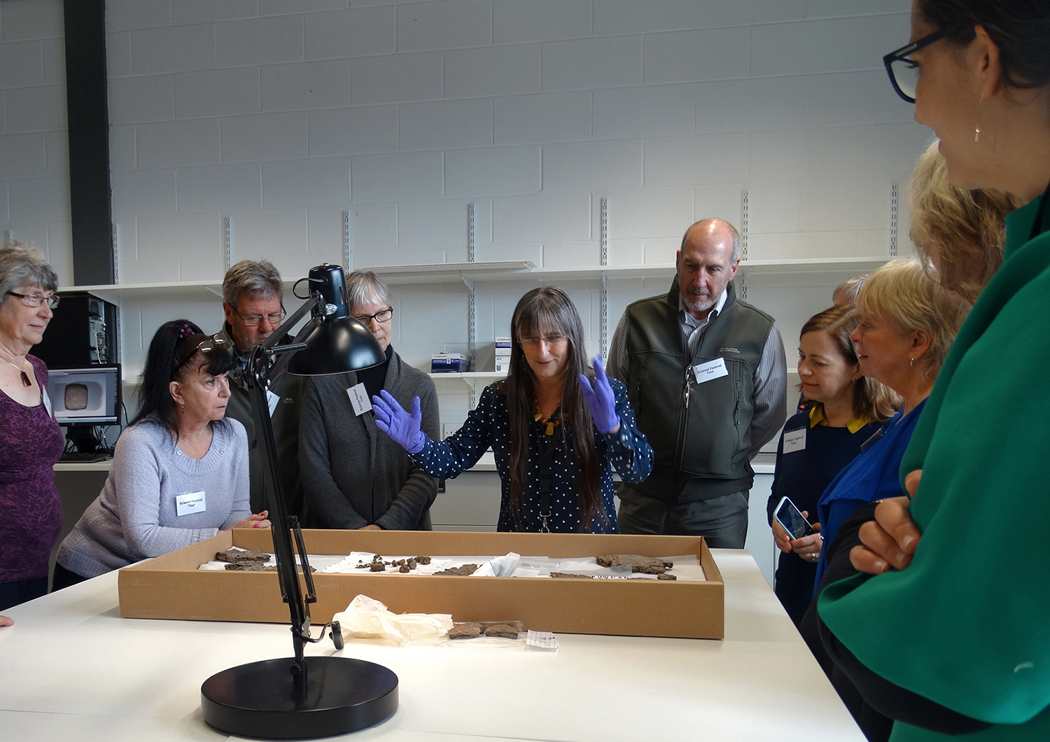 Dr Alison Sheridan with a tour group.