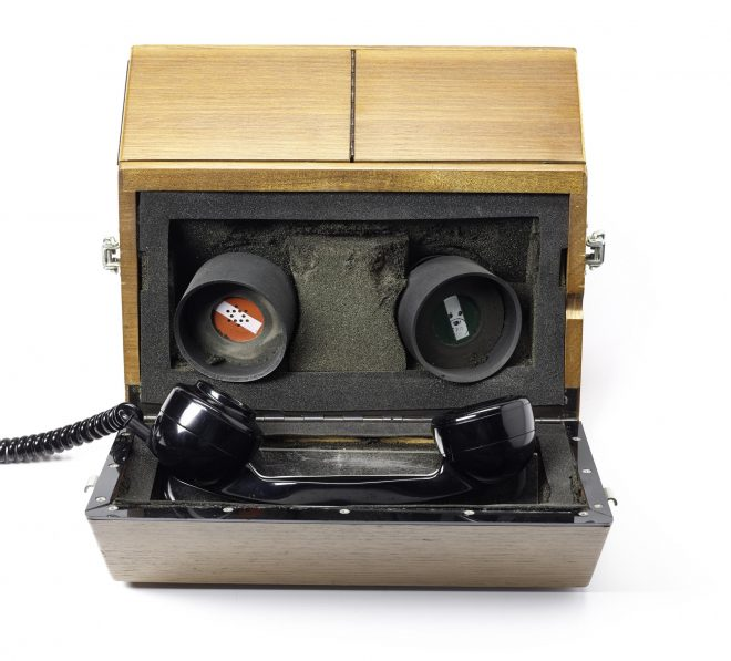 Acoustic coupler model AC.350.OM, rectangular wooden box that opens to reveal two speakers, by K and N Electronics Ltd, Maidenhead, England, 1970 - 1980