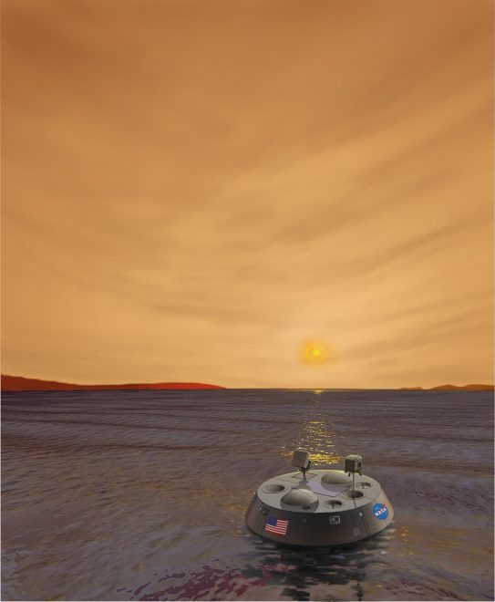 Illustration of TiME spacecraft floating a sea on the Saturn moon Titan.