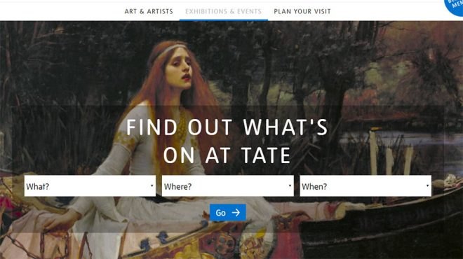 What's On landing page for Tate
