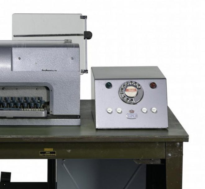 Telex teleprinter no. 7 on table with power pack, this was a development of earlier telegraph systems, General Post Office, United Kingdom, 1960s