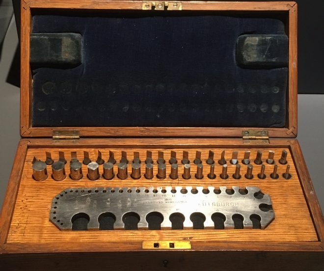 Steel wire gauge with forty measures, in fitted oak case, Board of Trade standard used by the City of Edinburgh, made by Sir Joseph Whitworth and Co. Ltd of Manchester, 1884